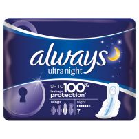 Always Ultra Night higijenski ulošci sa krilcima 7 komada